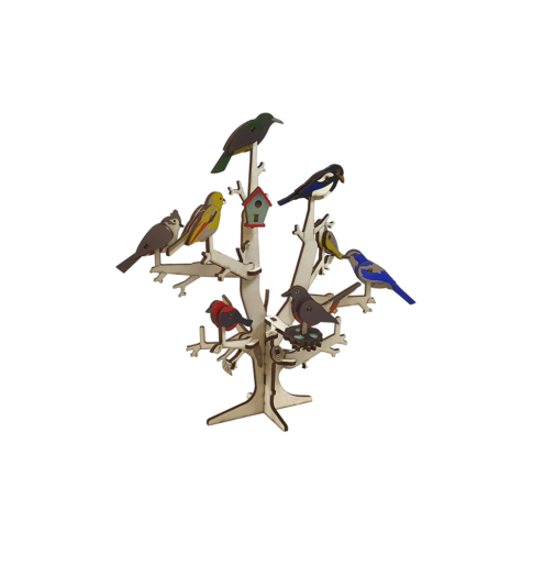 Tree with Birds + Collection of 8 birds 3D colored