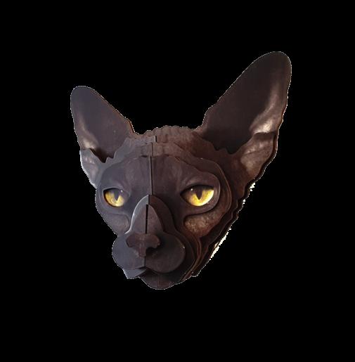 Sphynx cat 3D portrait