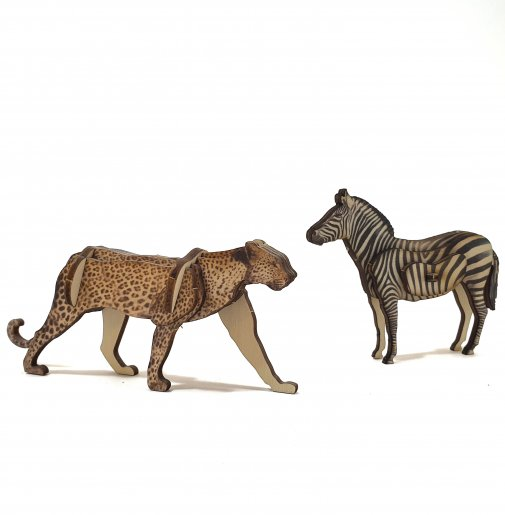 Set of 2 animals – Leopard & Zebra – small / colored