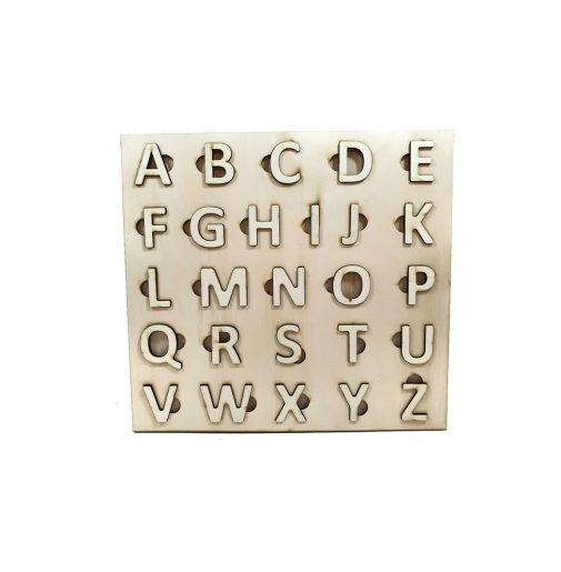 ABC Alphabet uppercase – Montessori – natural wood