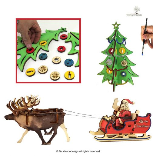 Christmas Set 1 = Christmas tree small – with decorations (DIY) + Santa Claus's Sleigh & Reindeers / colored