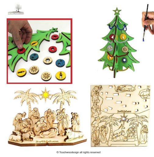 Christmas Set 2 = Nativity Set with star + Christmas tree small – with decorations (DIY)