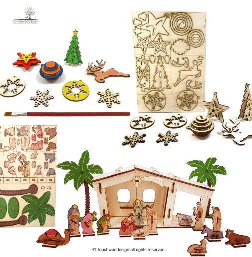 Christmas Set 3 = Nativity set + 16 items 3D/colored + Christmas decorations – kit of 5 types DIY